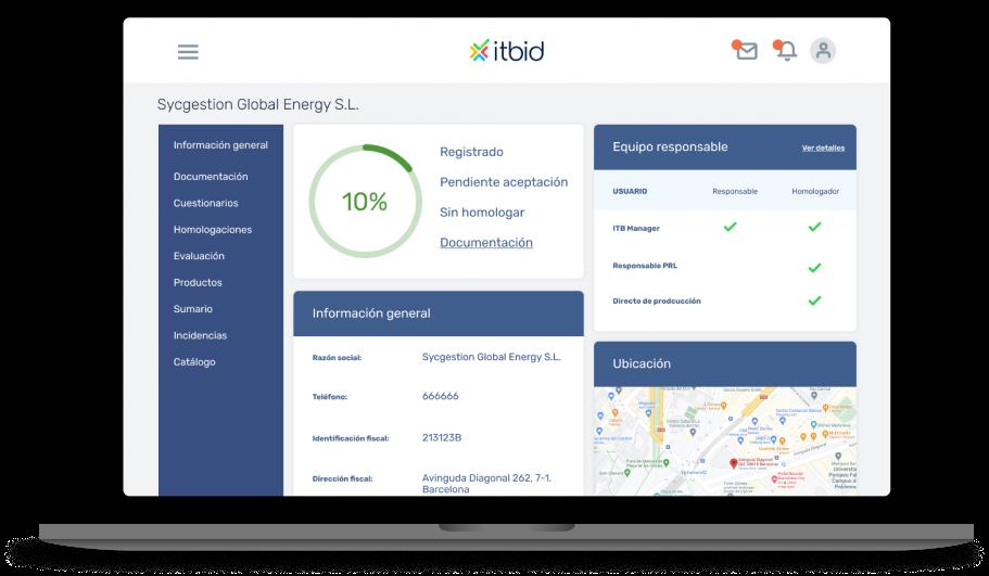 Gestión del proveedor y calidad imagen de la plataforma de itbid
